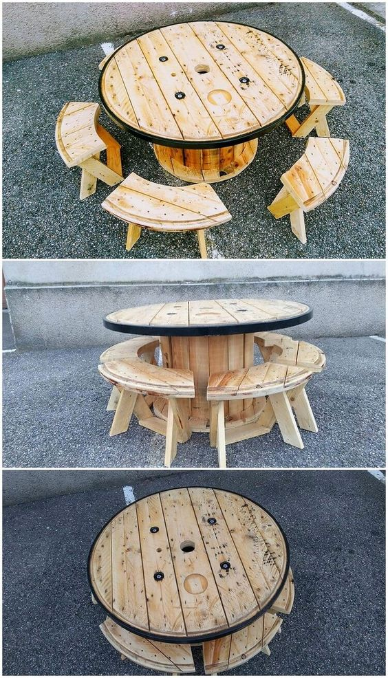 kábeldobból komplett kisasztal székekkel